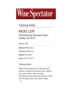 WS 2013 LB Chardonnay Review